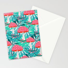 Cheerful mushrooms and flowers Stationery Cards