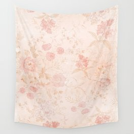 Vintage Muted Blush Pink Floral Print - Flowers / Cottagecore / Patterns Wall Tapestry