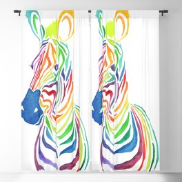 Watercolor Rainbow Zebra in Bold Blackout Curtain