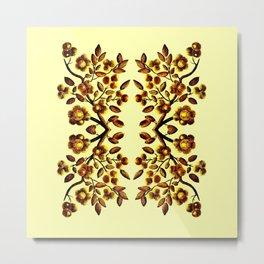 Yellow Brown Flower Leaf Pattern Vector Metal Print