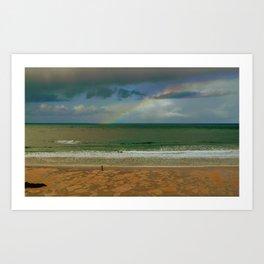 Rainbow at the seashore Art Print
