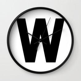 Letter W (Black & White) Wall Clock