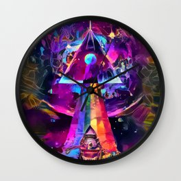 Psycodelic travel to the Moon Wall Clock