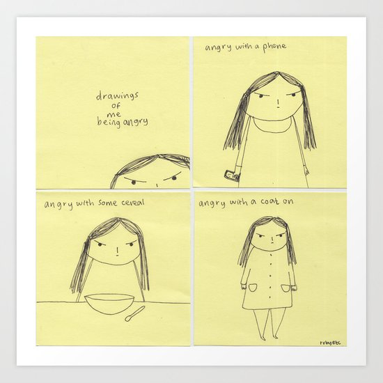 Drawings of me being angry Art Print