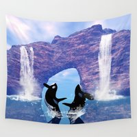 orca Wall Tapestries featuring Orca  by nicky2342