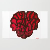 brain Area & Throw Rugs featuring Brain by Myles Hunt