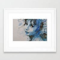 audrey hepburn Framed Art Prints featuring Audrey Hepburn by Paul Lovering Watercolors
