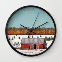 john snow Wall Clocks featuring First Snow by John Wisker