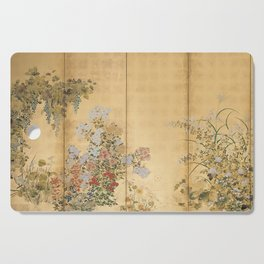 Japanese Edo Period Six-Panel Gold Leaf Screen - Spring and Autumn Flowers Cutting Board