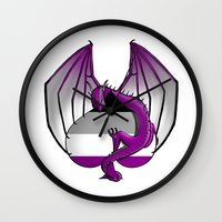 asexual Wall Clocks featuring Asexual Wyvern by (i)Rene