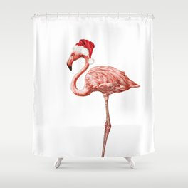 Christmas Flamingo Shower Curtain