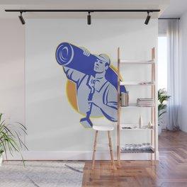 Carpet Layer Worker Carry Knee Kicker Tool Wall Mural