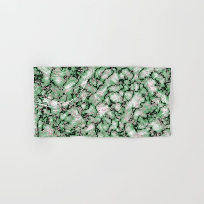 Spring Green & Rose Gold Marble Texture Hand & Bath Towel