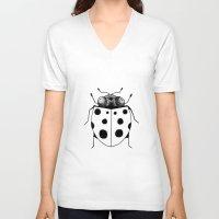 ladybug V-neck T-shirts featuring Ladybug by Brittany Rae