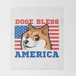 Doge Bless America Throw Blanket