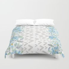 Gray arrows and blue flowers Duvet Cover