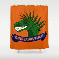 dinosaurs Shower Curtains featuring Dinosaurs Rule! by DemisaurusArt