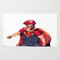 super mario Area & Throw Rugs featuring Super Mario by Mastodon