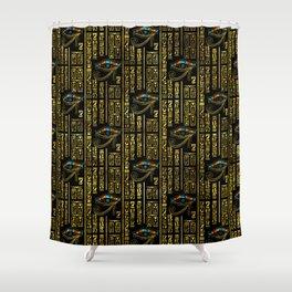 Eye of Horus and Egyptian hieroglyphs pattern Shower Curtain