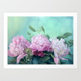 Pink Peonies The Three Sisters Floral Art Print