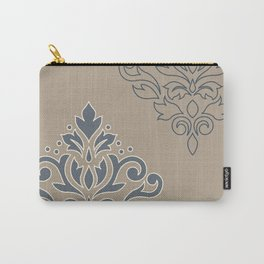 Scroll Damask Art I (outline) Crm Blues Sand Carry-All Pouch