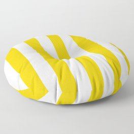 Philippine yellow -  solid color - white vertical lines pattern Floor Pillow