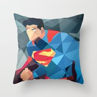 dc comics Throw Pillows featuring DC Comics Man of Steel by Eric Dufresne