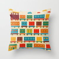 train Throw Pillows featuring Train by Kakel