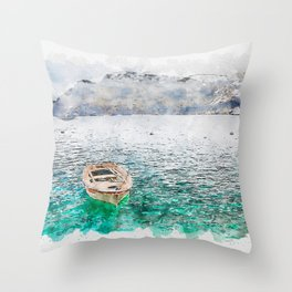 Aquarelle sketch art. Seaview of Santorini island with boat Throw Pillow