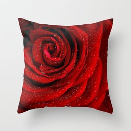 Red rose with sparkling droplets - Beautiful elegant Roses Throw Pillow