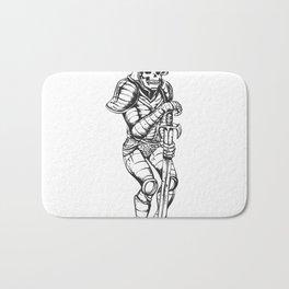 knight skeleton - warrior illustration - skull black and white Bath Mat