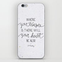 dumbledore iPhone & iPod Skins featuring Where your treasure is, there will your heart be also by Earthlightened