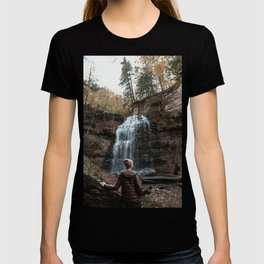 Girl standing infront of waterfall Photography T-shirt