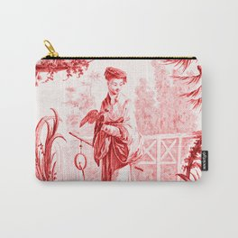 Chinoiserie Toile in Red Carry-All Pouch