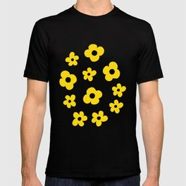 White Yellow Spring Flower Pattern T-shirt