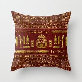 Golden Egyptian Sphinx on red leather Throw Pillow