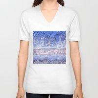 washington dc V-neck T-shirts featuring washington dc city skyline by Bekim ART