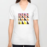 yellow pattern V-neck T-shirts featuring Red Yellow Triangle Pattern by Gary Andrew Clarke