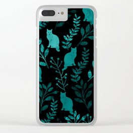 Watercolor Floral and Cat IV Clear iPhone Case
