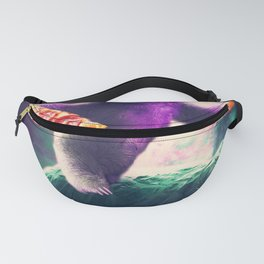 Funny Space Sloth With Pizza Riding On Turtle Fanny Pack