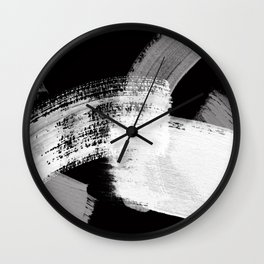 modern painterly brush strokes texture in bw Wall Clock