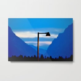 Mountains and a Lamp post Metal Print