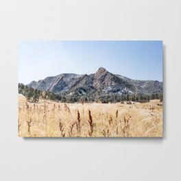 Flatirons Boulder // Colorado Landscape Photograph Yellow Red Field Green Forest Trees Metal Print