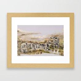 Totem wolf Sunset Framed Art Print