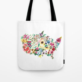 united flowers of america // watercolor floral flower map of the united states usa us Tote Bag