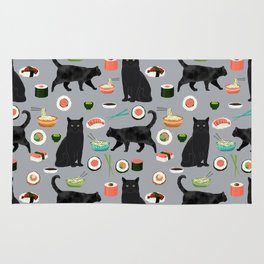 black cat sushi cat lover pet gifts cute cats Rug