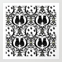 Midnight Cat Does Damask  Art Print