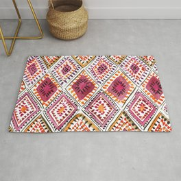 Warm Color Moroccan Rug Beautiful Embroidered Traditional Pattern Watercolor Painting Kilim Tapestry Rug