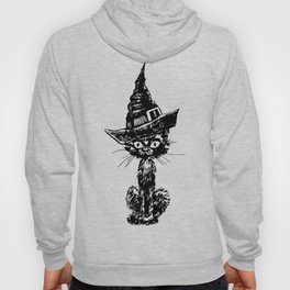 Doodle black cat with witch hat. Halloween design. Hoody