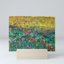 Poppy Time - Field of Wildflowers by the Lagoon in California Mini Art Print